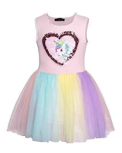 AmzBarley Vestido Princesa de Unicornio Fiesta Niña Tutu para Cosply Cumpleaños,Disfraz Tutu Princesa Unicornio Infantil Niña …