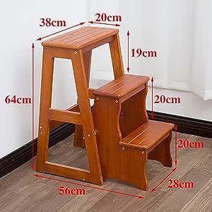 QinnLinn Escalera De Tijera Plegable Taburete De Madera De 3 Escalones para Adultos Cocina para Niños Escaleras De Madera Taburetes Pequeños para Pies Banco De Zapatos Portátil De Interior,3: Amazon.es: Hogar