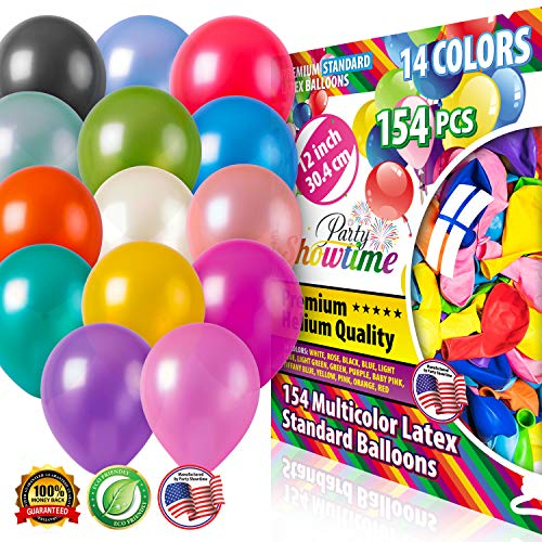 PartyShowtime Assorted Latex Balloons 12 inch Pack of 154 Multicolor Thick Latex Party Balloons for Helium or Air Use Ideal for Birthdays Weddings Graduation Ceremonies Baby and Bridal Shower
