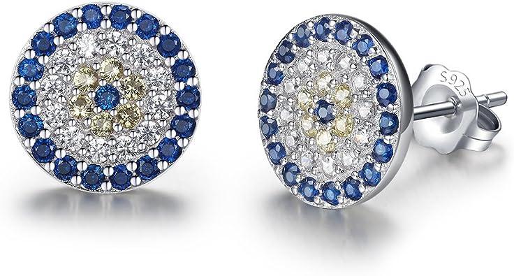 925 sterling silver white and blue zircons silver round evil eye bracelet blue enamel