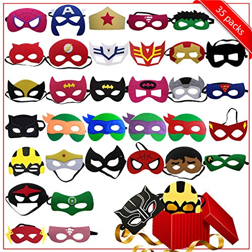 Superhero Party Favors 35Pcs Mask For Kids | Superhero Party Supplies | Superhero Masks For Kids | Superhero Birthday Party Supplies | Party Masks with 35 Different Types for Children -
