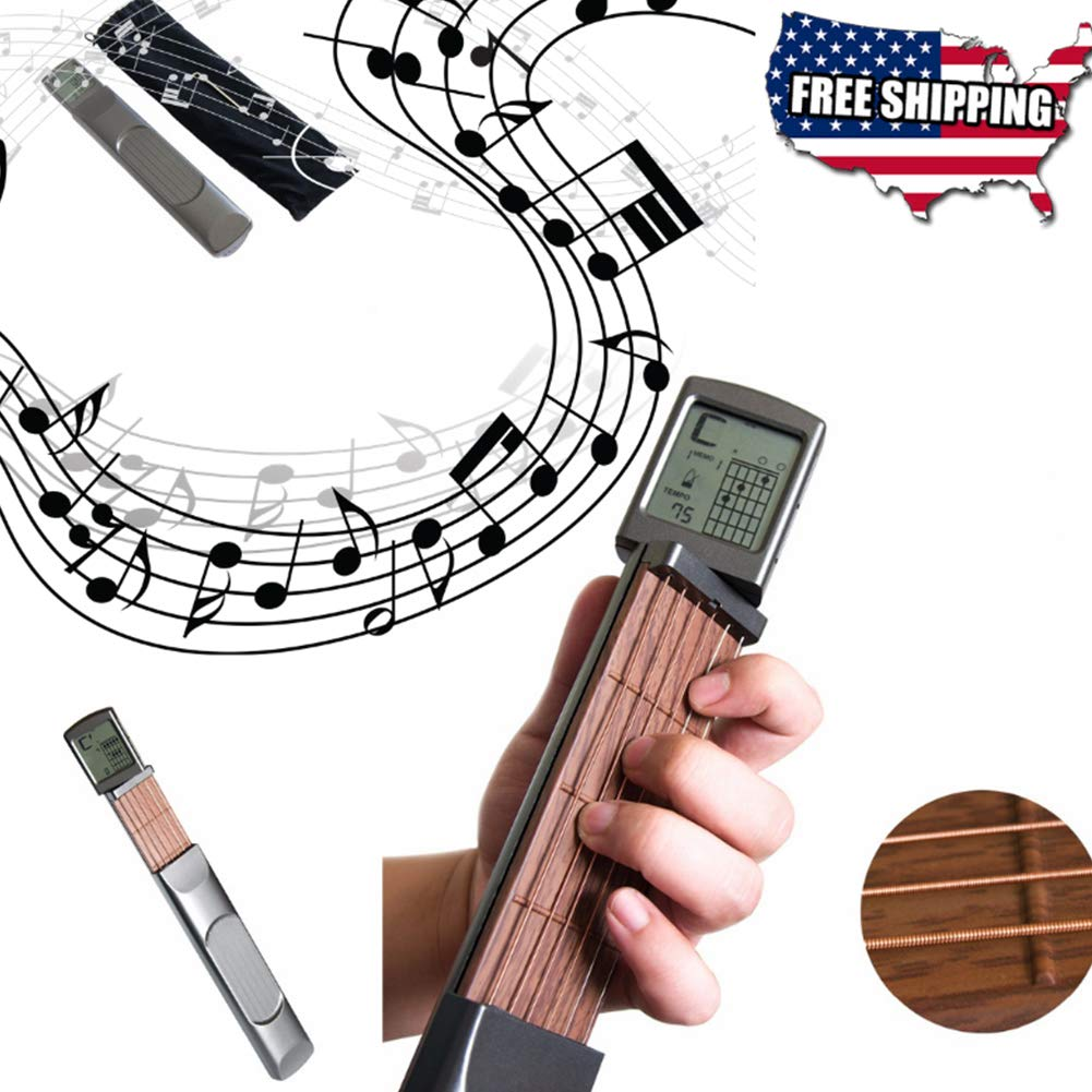 Digital Guitar Trainer with Rotatable Chords Chart Screen Display, with 2032 Button Battery, Pocket Mini Guitar (1pc)