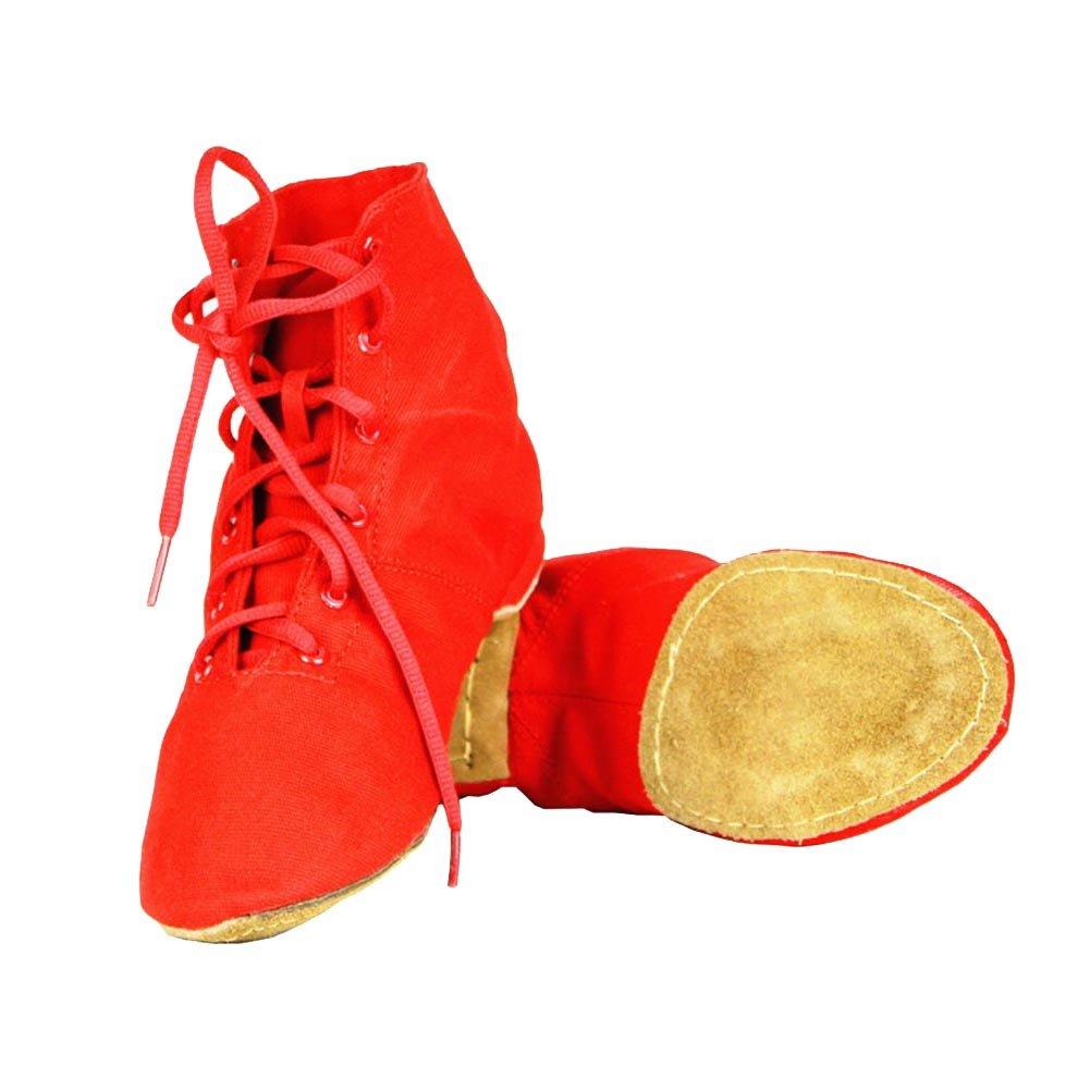 Modernes Chaussures De Danse Chaussure de Ballet Boot Semelle Souple Yoga Gymnastique Split Plate Ballet Doux Toile Chaussons pour Hommes Femmes Little Kid Lacets Filles Canvas Jazz Dance Bottes