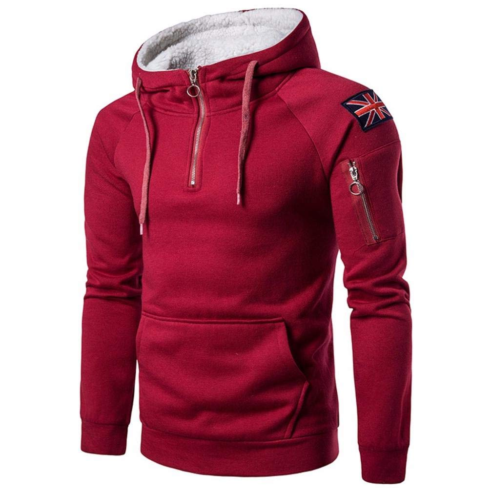 Men's Casual Solid Color Soft Heavy Wear Long Sleeve 1/4 Zipper Warm Pullover Hoodie