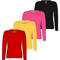 Kiddeo Girl's Plain Full Sleeves t Shirts - Pack of 4