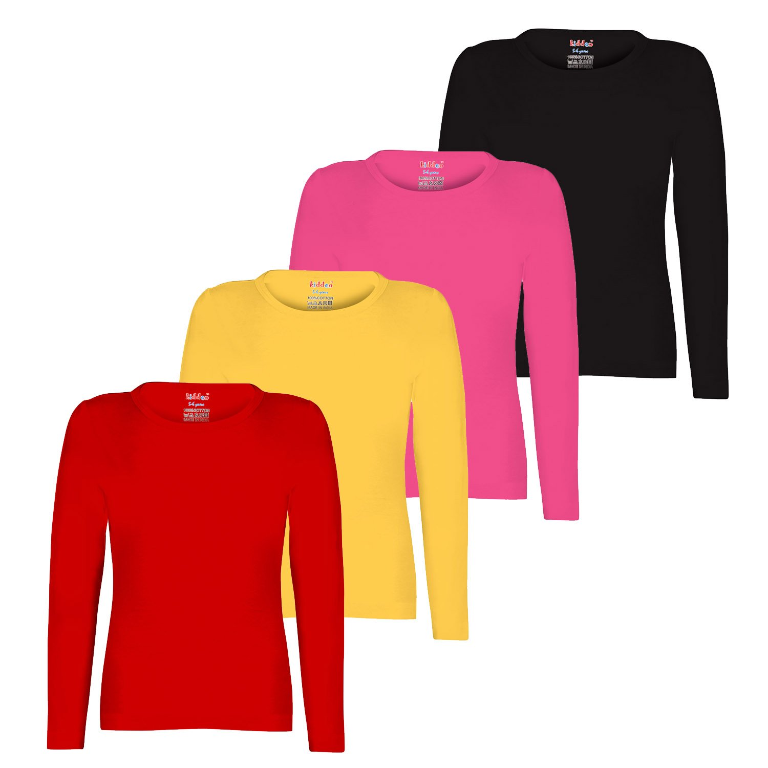 aa8f743b6323 Kiddeo Girl s Plain Full Sleeves t Shirts - Pack of 4  Amazon.in  Clothing    Accessories