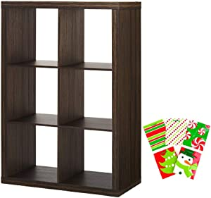 Better Homes and Gardens Home Office Furniture Sleek Style 6-Cube Organizer Bookcase Bags Bundle, Tobacco Oak