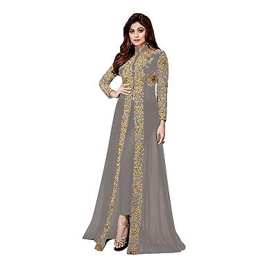 d4c3b08071 Amazon.com: Rakhi Eid Festival Indian Party Wear Dress Gray color Abaya  Dress Bollywood Pakistani Anarkali Salwar Suit Bridal Wedding Ceremony  Muslin Eid ...