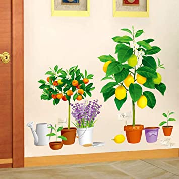 Bdhnmx Large DIY Wall Stickers Home Decor 3D Potted Flower Pot Green Plant Kitchen Window Glass