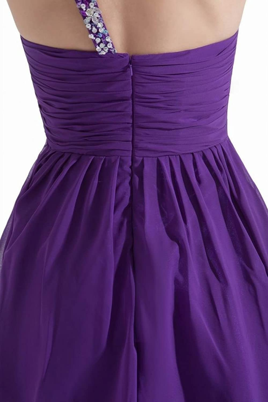 Dearta Women's A-Line One-Shoulder Sleeveless Short/Mini Chiffon Cocktail Dress