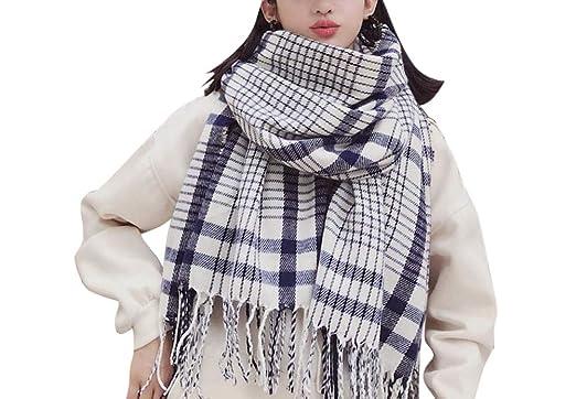 118fc4853e1f Aswinfon Écharpe Femme Hiver Chaud Imitation Cachemire Tartan Plaid Longue  Tissu Glands Chale Foulard (blanc