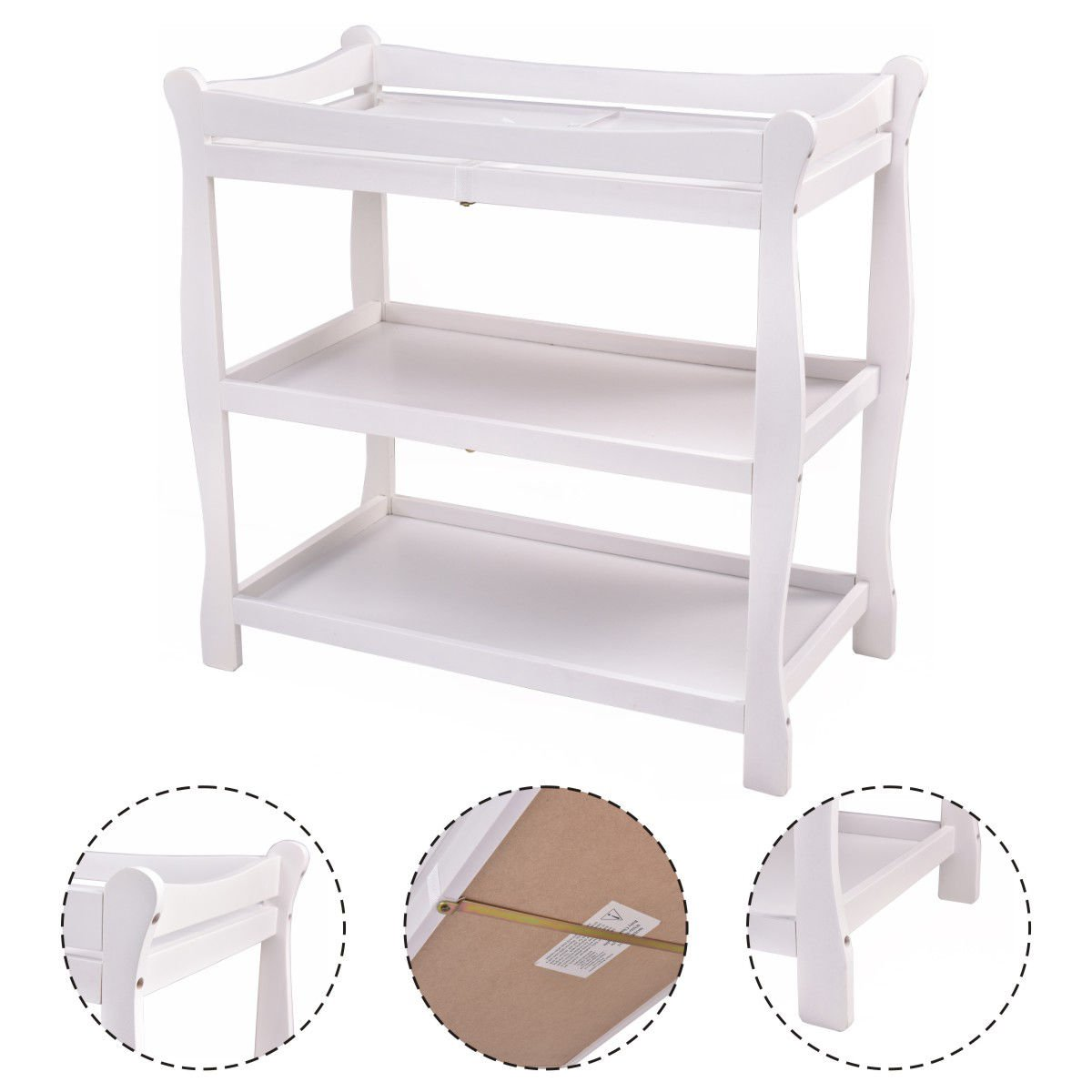 New MTN-G White Sleigh Style Baby Changing Table Infant Newborn Nursery Diaper Station