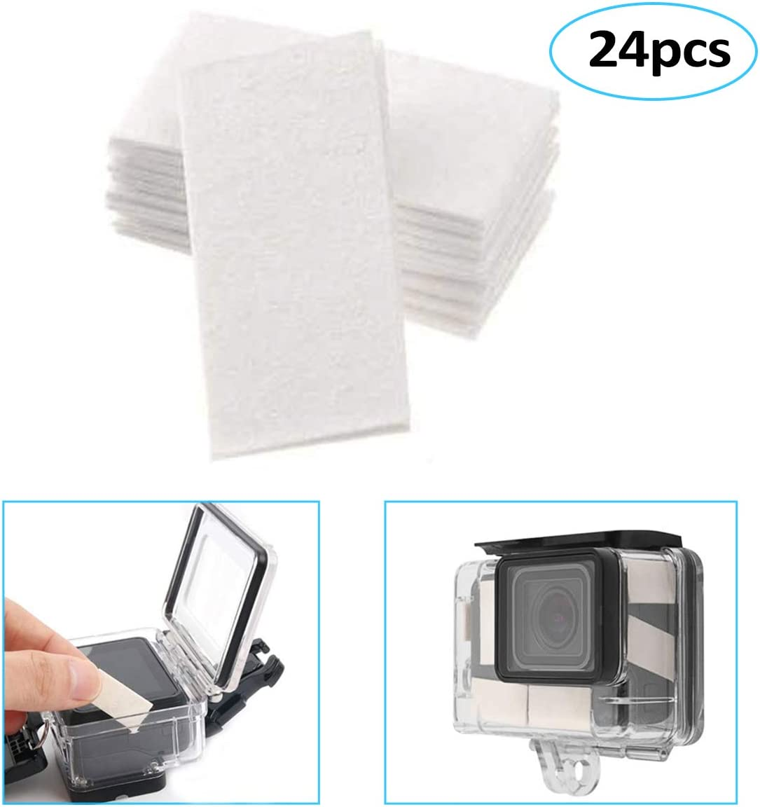 O'woda Anti Fog Inserts 24 pcs, for Underwater Dive Cases GoPro Hero 6/5/4/3/2, SJCAM/OSMO/YI Action Cameras Accessories