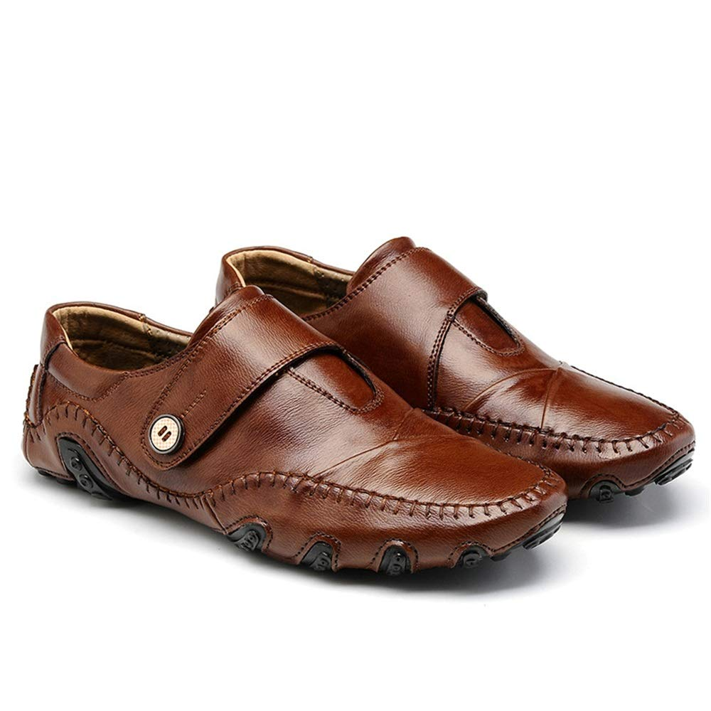 ZHRUI Hook Loop Leder Schuhe für Männer Kuh Leder Loop weiche Sohle Breathable Driving Loafers (Farbe : Braun, Größe : EU 39) Braun d2f49d