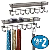 mDesign Closet Wall Mount Accessory Organizer for Storage of Ties, Belts, Watches, Glasses, Accessories – 8 Hooks/1 Basket, Pack of 2, Bronze
