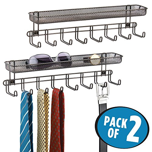 mDesign Closet Wall Mount Accessory Organizer for Storage of Ties, Belts, Watches, Glasses, Accessories – 8 Hooks/1 Basket, Pack of 2, Bronze by mDesign
