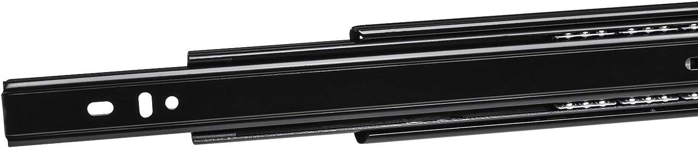 3 Falten Vollauszug 550 mm Softclose schwere Belastbarkeit 45 kg seitliche Montage 1 Paar 2 St/ück schwarzes Metall AOLISHENG Kugellager-Schubladenschienen