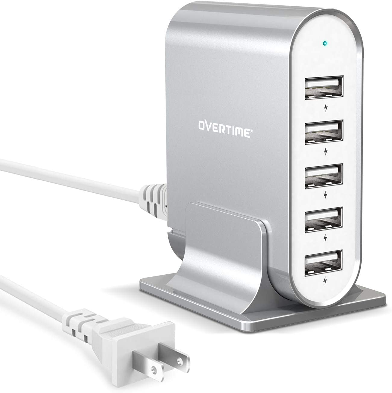 Multiple USB Charger, Overtime 35.5W/7.1A 5-Port Desktop Charger Charging Station Multi Port Fast Wall Charger Hub Compatible with iPhone, iPad, Samsung, LG, Nexus, HTC and More - Silver