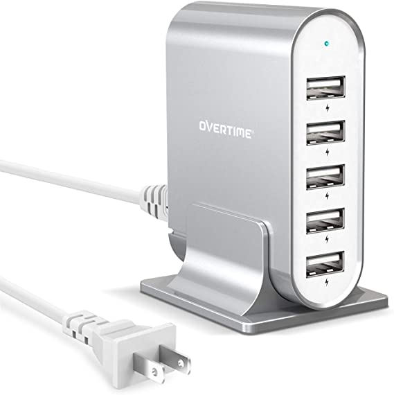HTC and More Overtime 3.1A 3-Port Desktop Charger Charging Station Multi Port Fast Wall Charger Hub Compatible with iPhone Multiple USB Charger iPad Nexus Samsung LG Silver