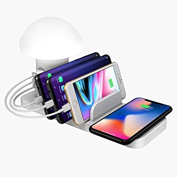 Sansee Qi - Cargador inalámbrico LED de 3 Puertos USB para ...