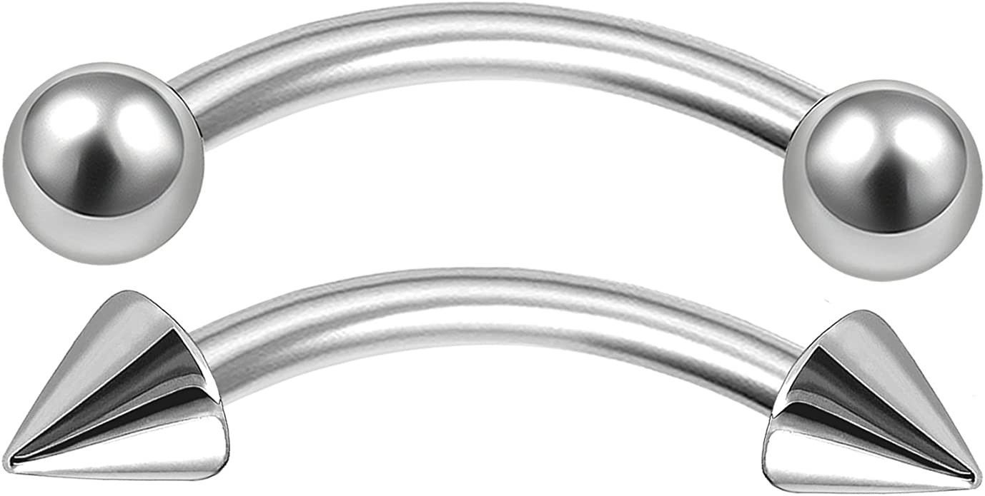 """1//2/"""" Surgical Steel Curved Eyebrow Tragus Barbell with 2.5 Balls 18G 16G 1//4/"""""""