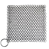 Blisstime Cast Iron Cleaner 16x16 Centimeter Premium Stainless Steel Chainmail Scrubber