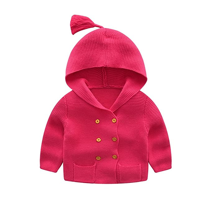 92183f0b4 Amazon.com  Baby Girls Button-down Cardigan Toddler Cute Cable Knit ...