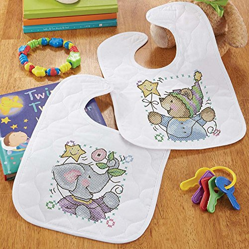 Baby by Herrschners Pre-Quilted Bundle of Joy Baby Bibs Stamped Cross-Stitch Kit ()