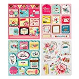 FaCraft Scrapbooking Stickers 3D Self-Adhesive Stickers Vintage Scrapbook Embellishments,Happy Birthday, 38 Pieces Assorted Colors/Designs