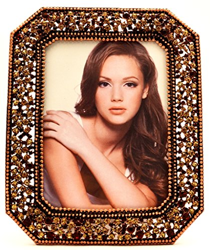 Ciel Collectables Royal Palace Design Veronica Picture Frame with Hand Set Light & Dark Topaz Brown Swarovski Crystal, Copper Plating, Brown Color Stylish Silk Back Have Two Way Easel, Holds 5 x 7 Inch Pictures (Photo Brown Crystal)