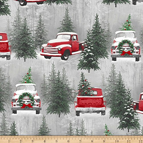 HENRY GLASS & CO. Holiday Traditions Scenic Red & Gray Fabric By The Yard (Fabric Cotton Quilt Holidays)