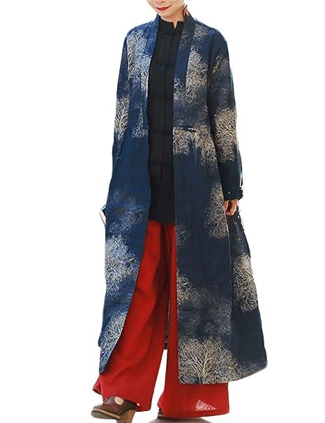Amazon.com: Chaqueta larga de algodón para mujer, con diseño ...