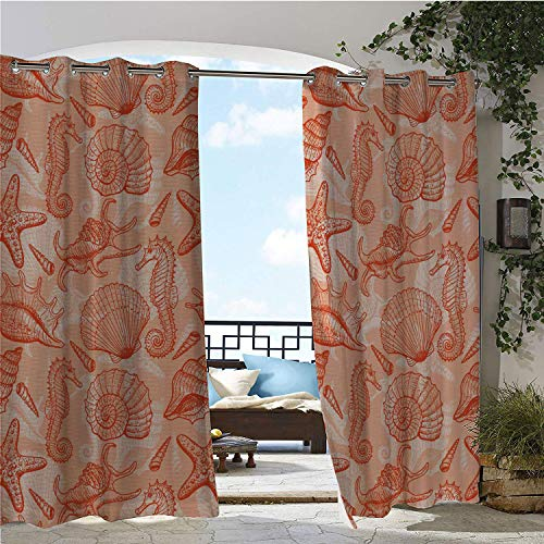 (Linhomedecor Outdoor Waterproof Curtain Coral Nautical Marine Sea Mix Collection Seahorse Shells and Starfish Ocean Summer Theme Salmon Porch Grommet Free Curtain 108 by 84 inch )