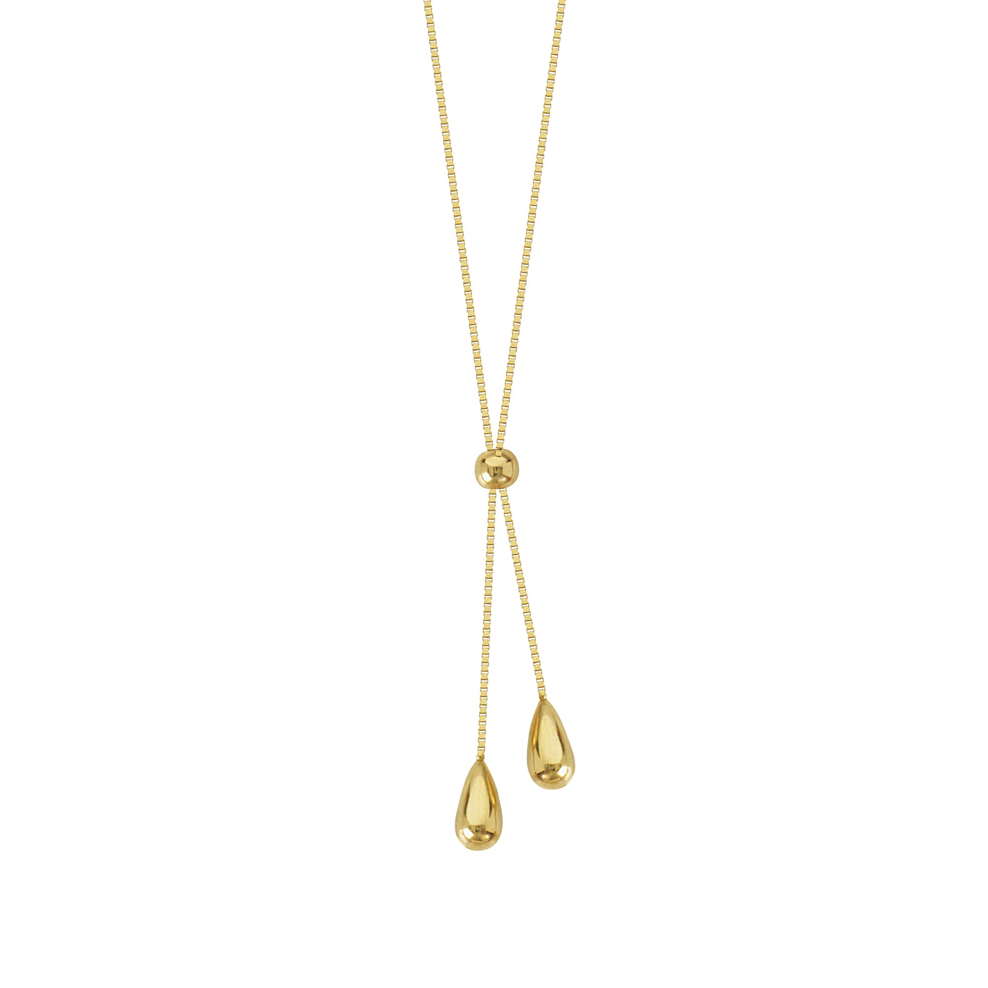 Y-style Lariat Necklace with Teardrop Beads 14k Yellow Gold by AzureBella Jewelry