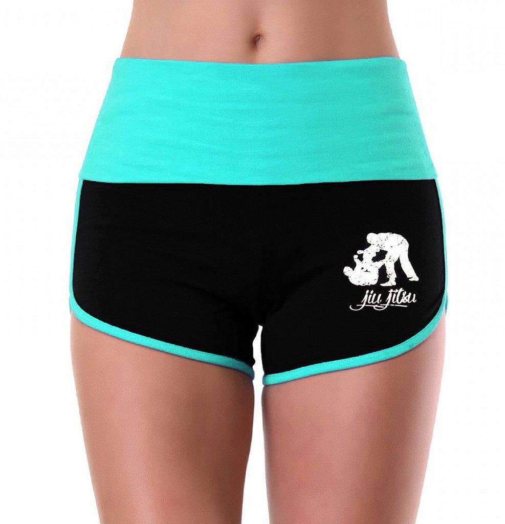 Women's MMA Jiu Jitsu Emblem Mint/Black Athletic Workout Yoga Shorts Small