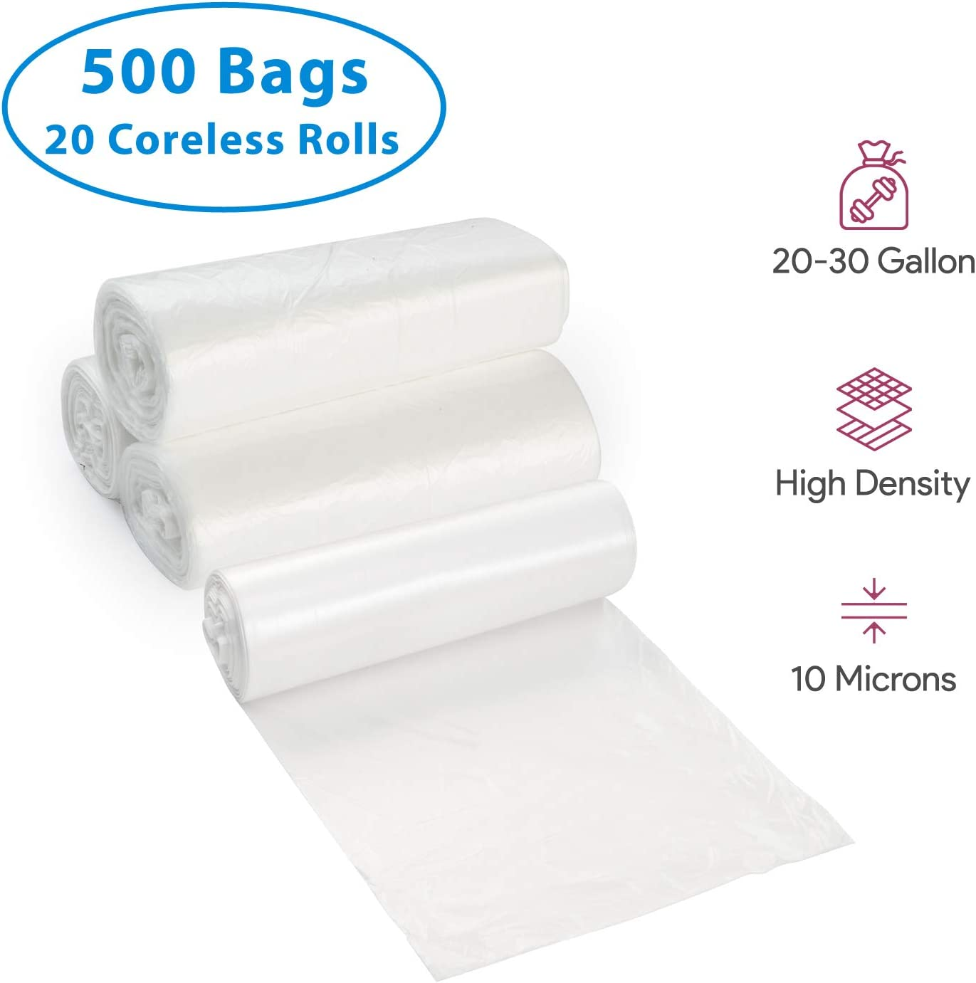 20-30 Gallon Clear Garbage Can Liners, 500 Count - Medium - Large Trash Can Liners - High Density, Thin, Lightweight, 10 Microns - For Office, Home, Hospital, Wastebaskets -20 Coreless Rolls