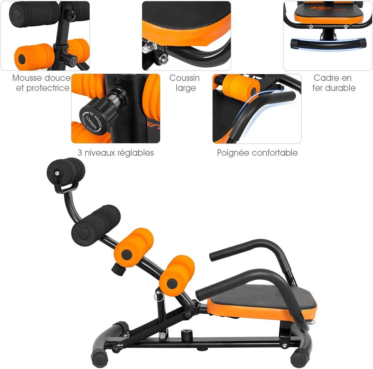 Utilis/é comme Banc Inclin/é ou Sit Up Charge 100KG Costway Banc de Musculation avec Dossier R/églable en 3 Positions,Angle R/églable Entre 100-180/°Construction Robuste