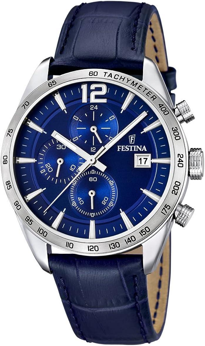 University Sports Press F16760/3 - Reloj de Cuarzo para Hombre, con Correa de Cuero, Color Azul