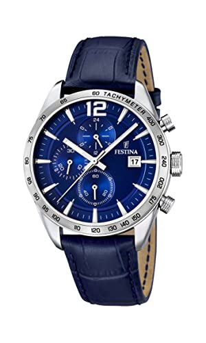 Festina Men s Quartz Watch with Blue Dial Chronograph Display and Blue  Leather Strap F16760 3  Amazon.co.uk  Watches 5bb196e0ff