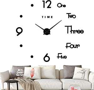 Modern DIY Frameless Large Wall Clock 3D Mirror Sticker Metal Big Wall Clock Home Office Decorations (Black)