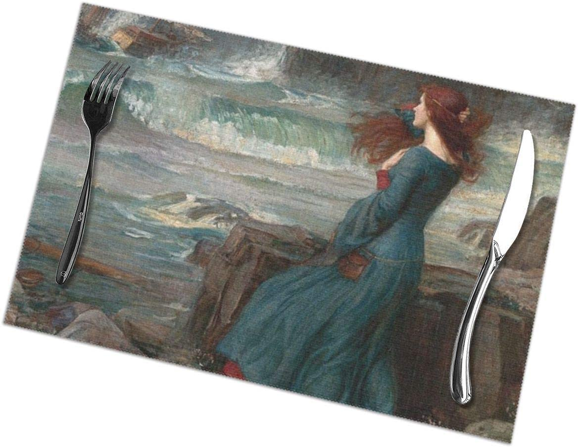 Miranda The Tempest Placemats Set Of 6 For Dining Table Washable Kitchen Table Mats Easy To Clean