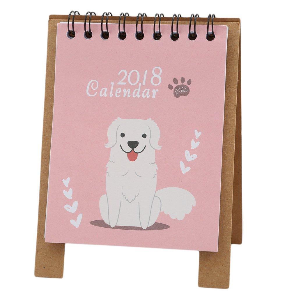 Dolland 2018 Desk Calendar,Cute Cartoon Desktop Flip Stand Calendar Multifunction Creative Desktop Organizer Portable Planner Calendar,Puppy