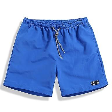 a7f5cff285 SHEKINI Men's Swim Trunks Quick Dry Beach Shorts Pockets Wihtout Mesh  Lining (Charming Blue,