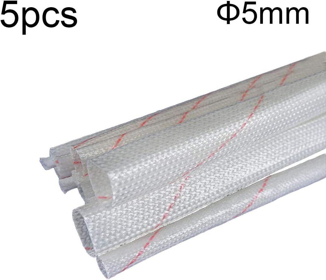 Robluee 5pcs Manchon Isolant Poly/éthyl/ène pour C/âble Electrique Ignifuge Isolant en Fibre de Verre Trecciata Protection Thermique Hautes Temp/ératures