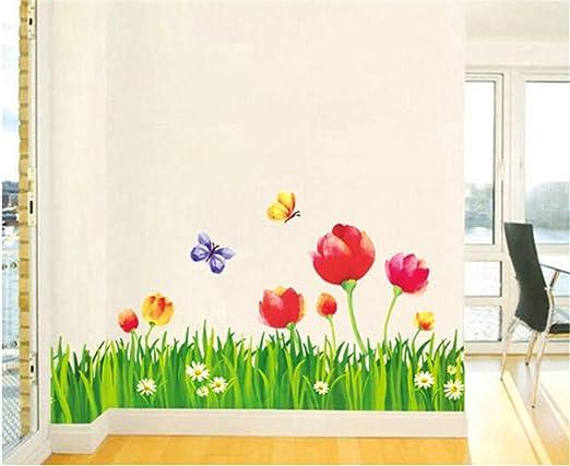 7 opinioni per ufengke Giardino Fiori Prato Farfalla Adesivi Murali, Camera da Letto Soggiorno