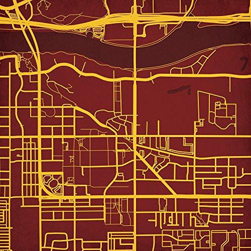 College Map Wall Art - Arizona State University Campus Map Art