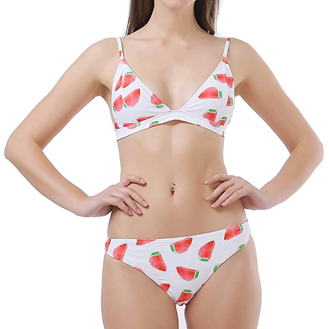c9bcdbef97d7b Women s 2 Pieces Triangle Bikini Set Halter Neck Watermelon Pirnted Swimsuits  Bathing Suit (Small)