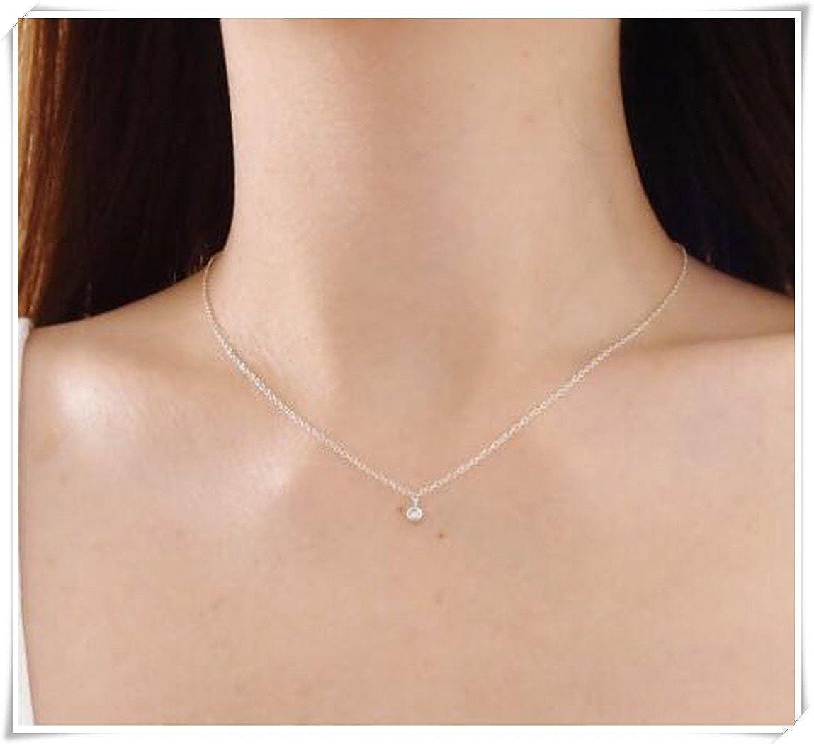 Silver Crystal Necklace, Dainty Necklace, Simple Necklace C88