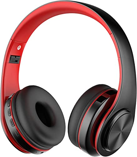 Alitoo Bluetooth Wireless Headphone Over Ear, Hi-Fi Stereo Headset Foldable Built in Microphone and Wired Mode Audio Rechargeable Headphones for iPad,TV,PC,Android,Smartphone,Tablets – Black Red