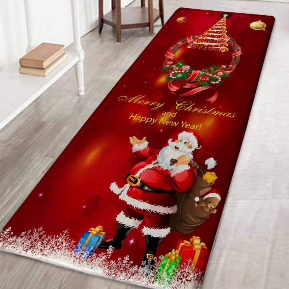120 cm Corona de Navidad 40 KEYkey Festival de Navidad Decorativo Ornamento de Navidad de Dibujos Animados de la Alfombra Antideslizante Alfombra de ba/ño colchoneta c/ómoda Suelo Alfombra